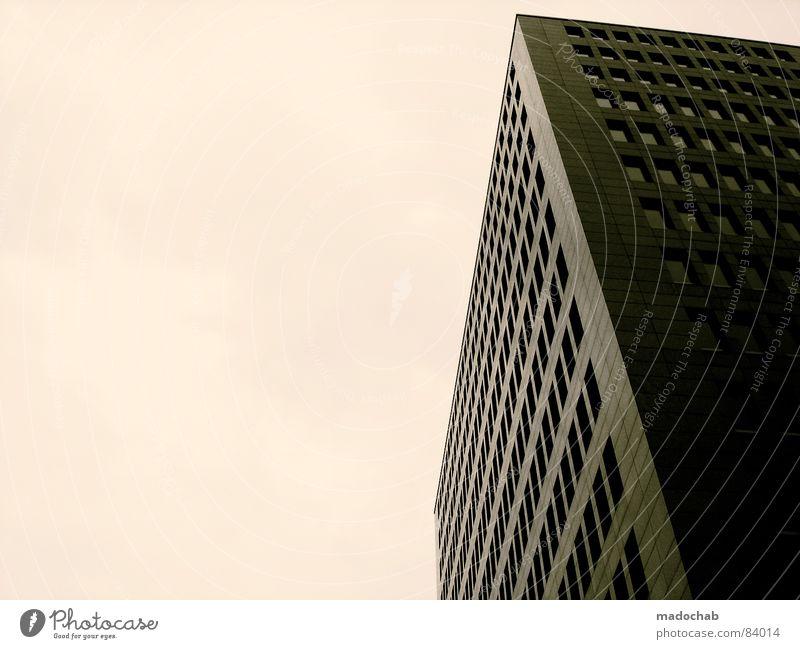 MODERN ANONYMITY | ONE Himmel Stadt blau Wolken Haus dunkel Fenster Leben Architektur Traurigkeit Gebäude Freiheit fliegen oben Arbeit & Erwerbstätigkeit