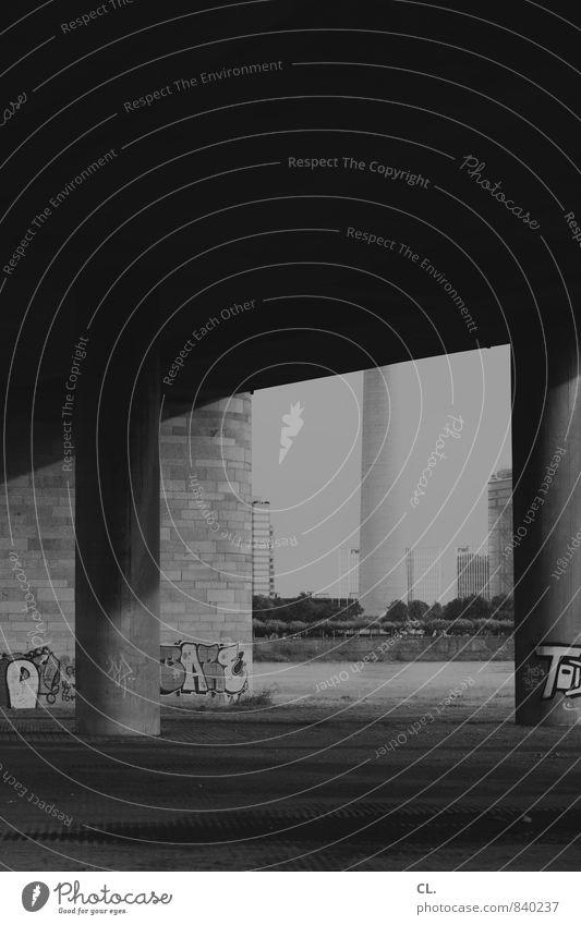 unter der brücke Stadt Wand Architektur Mauer trist Brücke Bauwerk verstecken Sehenswürdigkeit Düsseldorf verborgen Rheinturm Brückenpfeiler Brückenkonstruktion