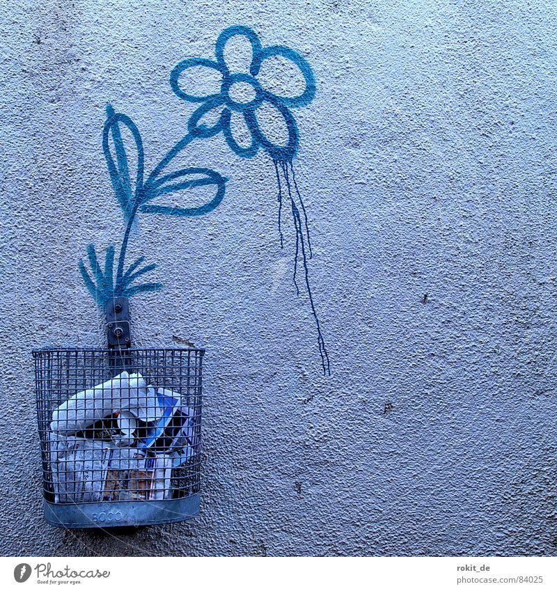 Hatschiiieee... Wachstum Müll Eimer Müllbehälter Papierkorb Korb Wand Bla Blume Stengel Blüte sprühen Löwenzahn rieseln Tagger Blühend Farbschicht Wandmalereien