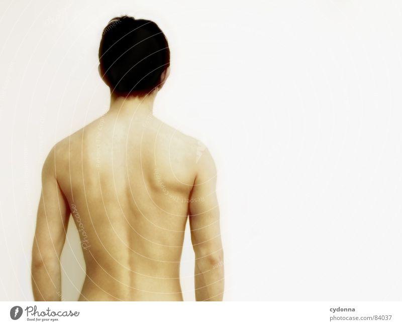 Wer bin ich? IV Mensch Mann Einsamkeit kalt Wand nackt Kopf Wärme Körper Raum Rücken Angst Haut Armut planen leer