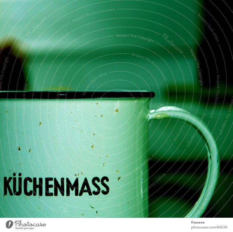 finde das mass grün Kochen & Garen & Backen Küche Schriftzeichen Buchstaben Tasse Haushalt Emaille Messinstrument Maßeinheit Millimeter Altwaren