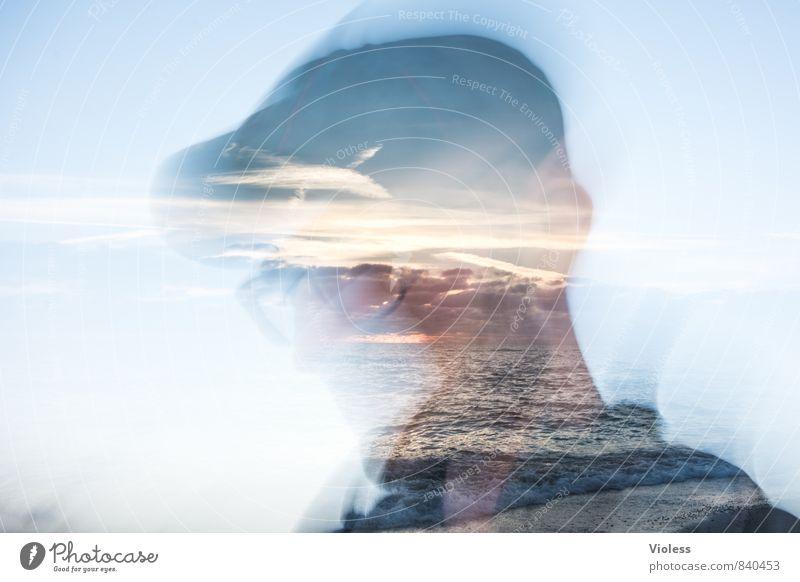 bilder im kopf... Mann Landschaft Freude Erwachsene außergewöhnlich Kopf maskulin Wellen fantastisch Brille Coolness entdecken Doppelbelichtung