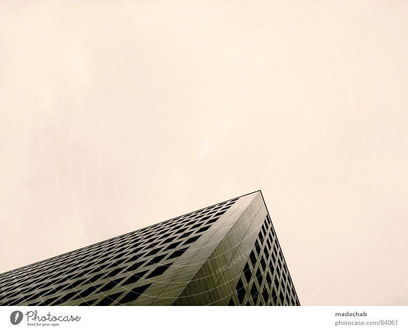 MODERN ANONYMITY | TWO Himmel Stadt blau Einsamkeit Wolken Haus dunkel Fenster Leben Architektur Traurigkeit Gebäude Freiheit fliegen oben Arbeit & Erwerbstätigkeit