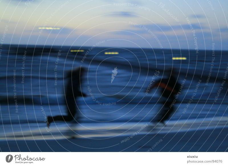 ijselmeer Meer Kinderspiel Strand Küste Sonnenuntergang Bewegungsunschärfe Himmel Abend Winter Wetter Mensch an der küste Firmament Abenddämmerung