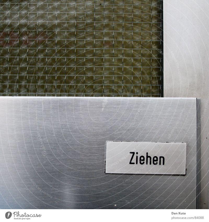 Urbaner Imperativ alt kalt Metall glänzend Glas Schilder & Markierungen retro verfallen Typographie Siebziger Jahre ziehen drücken Achtziger Jahre Wohnsiedlung