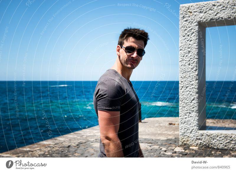 Cool Guy Jugendliche Mann schön Meer 18-30 Jahre Junger Mann Erotik Erwachsene Stil Party maskulin Lifestyle Körper Lächeln Fitness Coolness