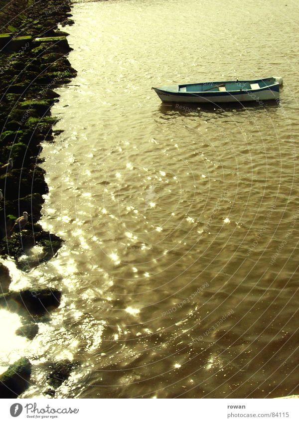 boot, ruhend  II See dunkel Meer Wasserfahrzeug Holz klein zyan türkis typisch Physik Angeln Fischerboot ankern ruhig Unendlichkeit Pause Morgen Gelassenheit