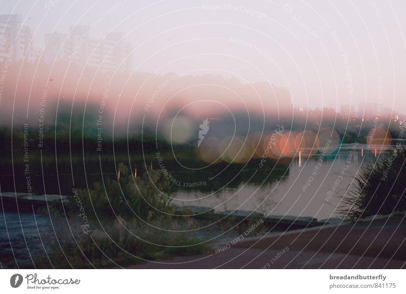Alternative Realitäten Umwelt Landschaft Wasser Himmel Flussufer Süd Korea Asien Stadt Stadtrand Menschenleer Haus Hochhaus Brücke dunkel Ferne trashig trist