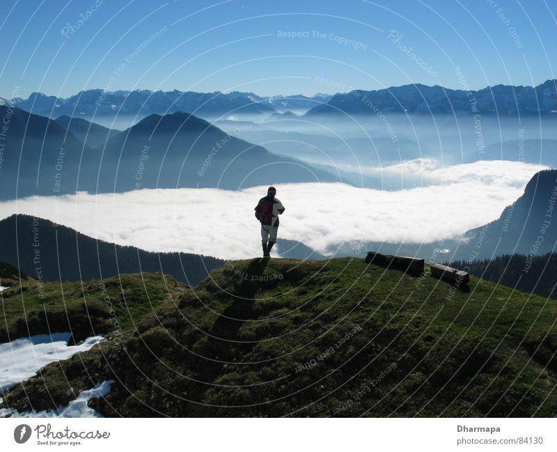 Hoch oben Himmel Berge u. Gebirge Nebel Alpen Tal Bergsteiger