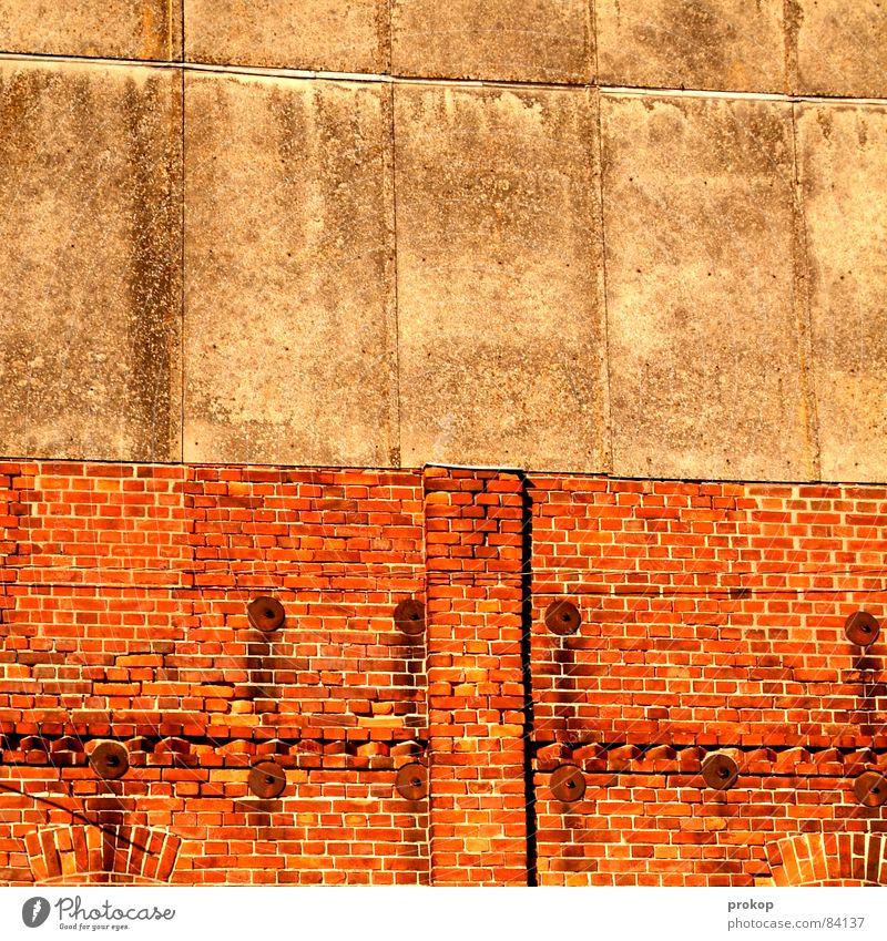 Hinter dem Bahnhof Textfreiraum Bildteppich Wand Mauer Backstein Putz flach Muster Hintergrundbild simpel 2 Freiraum hart Zirkus Konstruktion netzartig Raster
