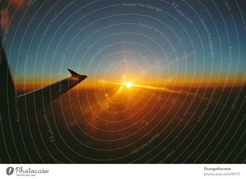 Über den Wolken Flugzeug Ferien & Urlaub & Reisen Unendlichkeit Europa Sonneuntergang Himmel Freiheit