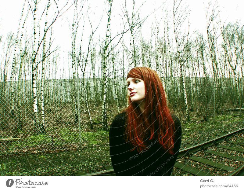 peace-loving Frau Mensch Natur schön grün rot Gesicht Herbst feminin Wege & Pfade Perspektive Zukunft Frieden Ziel Vertrauen Gleise