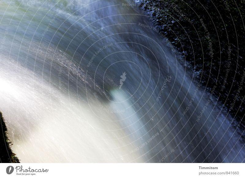 Feuchtigkeit | Doch, schon..., geradezu Nässe. Umwelt Natur Urelemente Wasser Wasserfall Stein Flüssigkeit frisch nass blau schwarz weiß Gefühle Rauschen