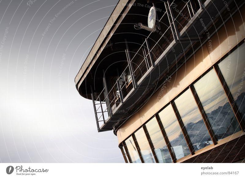 Panorama Filter Aussicht Parabolantenne Empfangsstation Nebelhorn (Berg) Jagertee Gebäude Satellit Antenne Reling Plattform Gipfel Restaurant Allgäu