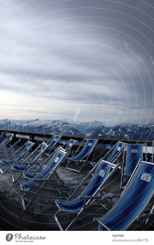 Liege Batterie Bräune Liegestuhl Aussicht Nebelhorn (Berg) Jagertee Gebäude Reling Plattform Gipfel Restaurant Allgäu Ferien & Urlaub & Reisen Winterurlaub