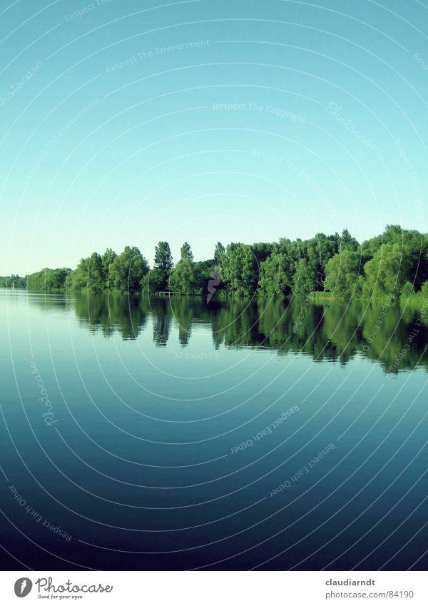 < grüner keil > See Grundlinie grün-blau Keil Spiegel Symmetrie Sommer unten ruhig Oberfläche Zwischenstück Spiegelbild schweigen Mittellinie Baum Wald Idylle