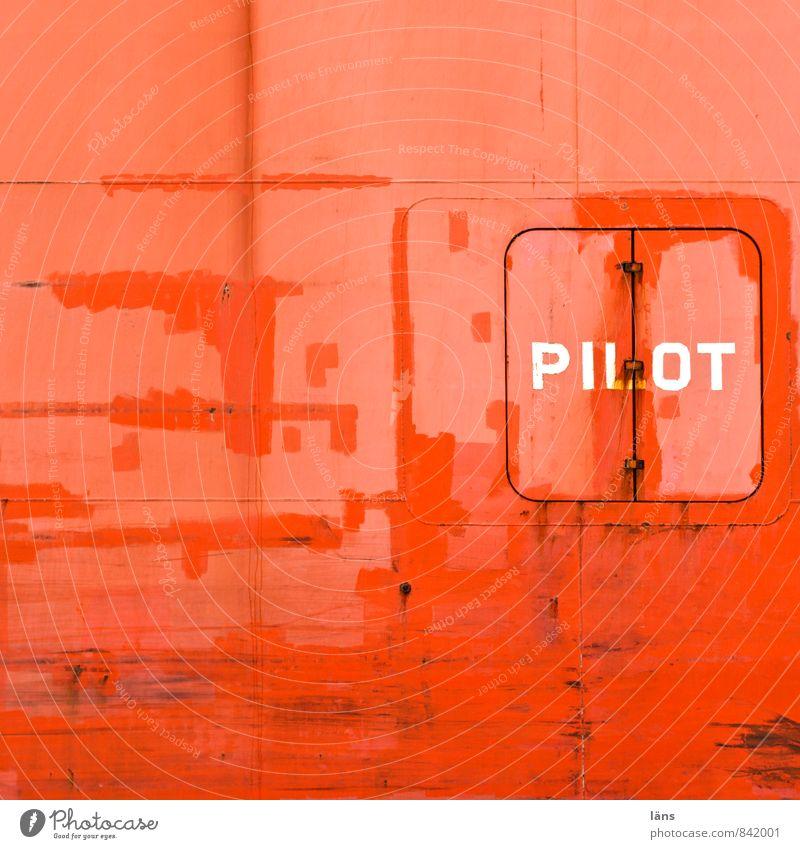 PILOT Pilot Hafen Verkehr Güterverkehr & Logistik Schifffahrt Containerschiff Wasserfahrzeug Metall Schriftzeichen alt maritim orange rot Wand Schiffsrumpf