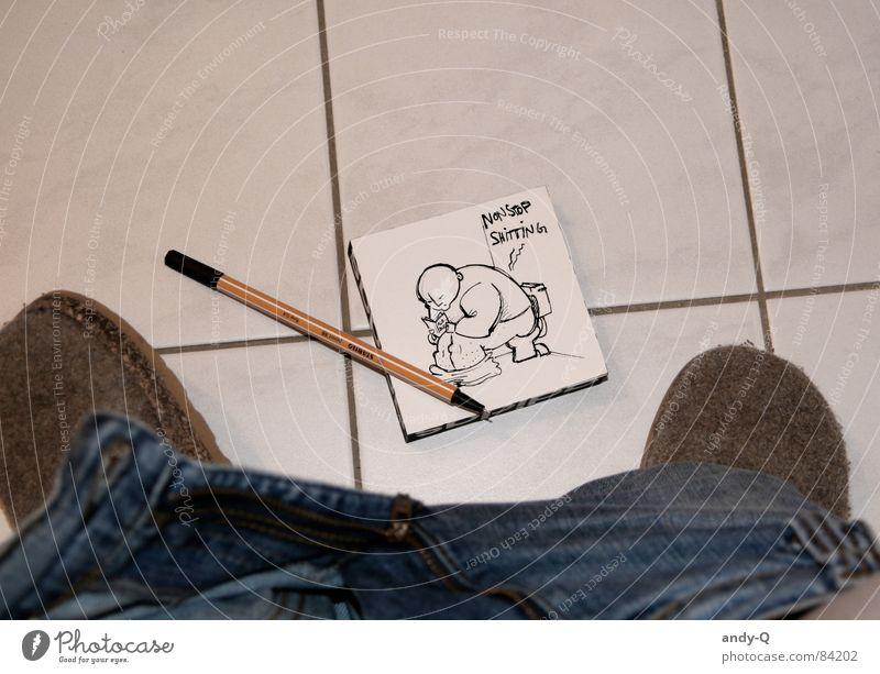 Nonstop Shitting schwarz kalt Freizeit & Hobby Schuhe sitzen Bad Humor Gemälde Konzentration Fliesen u. Kacheln Sitzung Toilette Langeweile Schreibstift Zeichnung Entwurf
