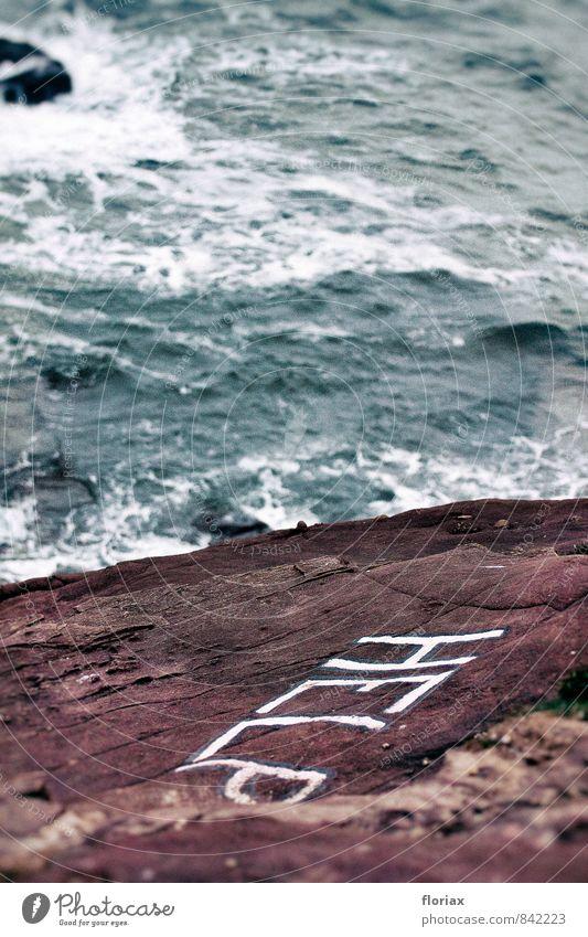 hilferuf blau weiß Wasser rot Gefühle Tod Schwimmen & Baden Stein wild gefährlich Schriftzeichen Hinweisschild bedrohlich Kommunizieren Schutz Zeichen
