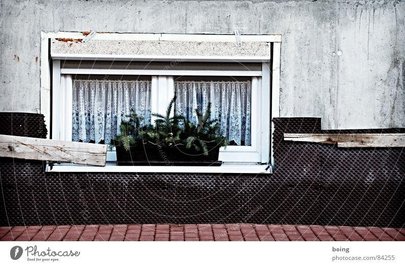 Vista pour Mardi Gras Straße Fenster Beton Baustelle Trauer Schmuck Vorhang Putz Verzweiflung Gardine Isolierung (Material) Nest Isoliert (Position) Neubau winterfest Blumenkasten