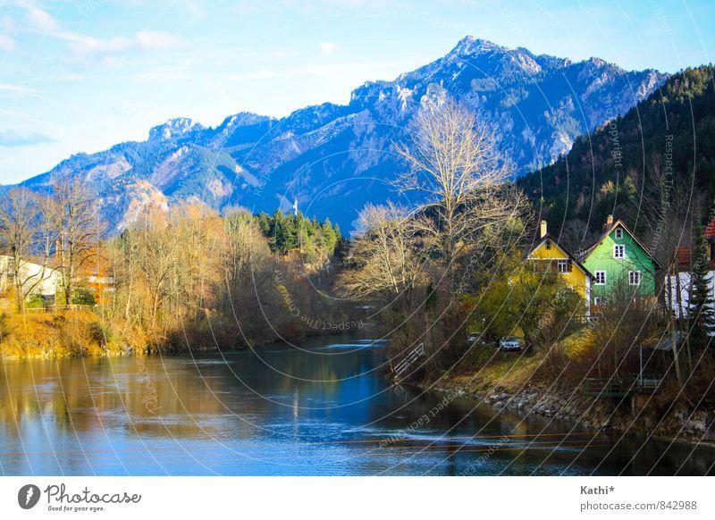 Füssen Himmel Natur Ferien & Urlaub & Reisen blau Wasser Baum Erholung Landschaft Haus Wald Berge u. Gebirge Herbst Freiheit Deutschland groß Schönes Wetter