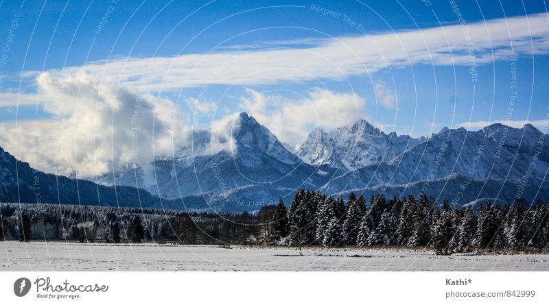Winterzeit in Bayern Natur Landschaft Urelemente Luft Himmel Wolken Klimawandel Schnee Berge u. Gebirge Schneebedeckte Gipfel Buching Deutschland Europa fest