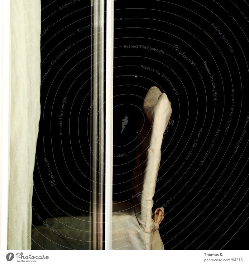 Der Stuhl, das Fenster, der Vorhang schwarz Glas trist Möbel Wohnzimmer Sitzgelegenheit Gardine Sessel Schleife Schlaufe Stuhllehne Hocker