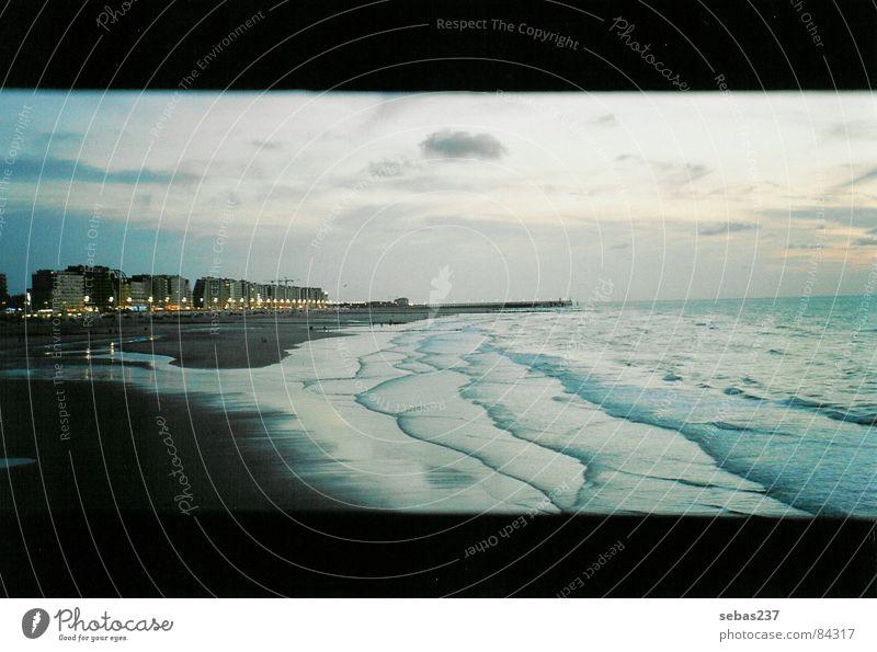 Belgische Ebbe Belgien Küste Meer Sonnenuntergang Niedrigwasser Horizont Abend Seeufer norddeutsch Badestelle Niederlande Flutlicht Hochwasser Meeresspiegel