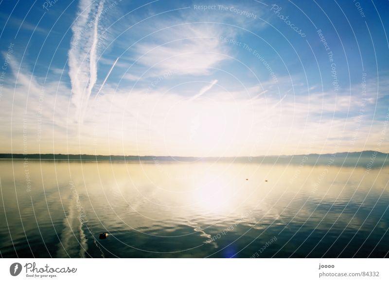 Weiß-Blauer Sonnenaufgang Himmel weiß Sonne blau Wolken See Sonnenaufgang Spiegel Schönes Wetter Starnberger See