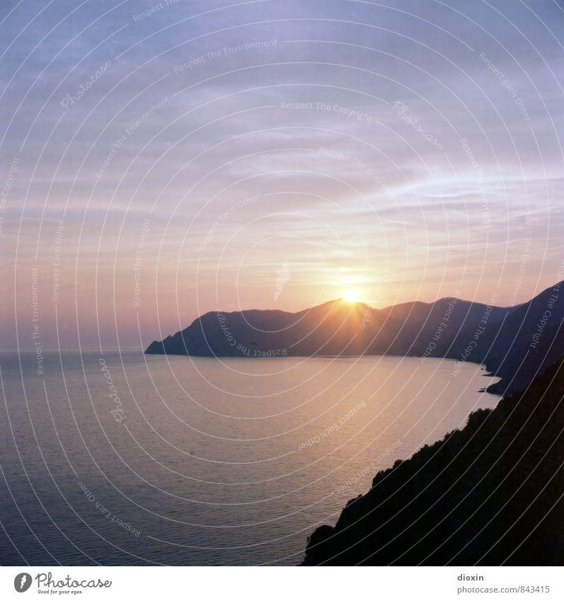 analogue sunset Himmel Natur Ferien & Urlaub & Reisen Wasser Sommer Sonne Meer Landschaft Ferne Umwelt Küste Freiheit Tourismus Sehnsucht Fernweh Sommerurlaub