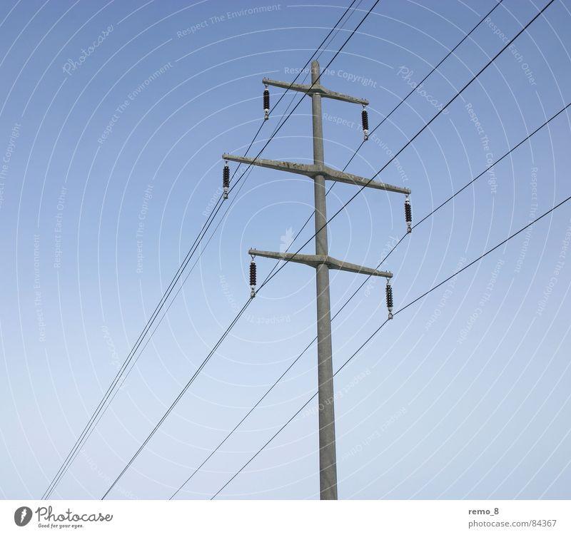 Strommast single Kraft Energiewirtschaft Elektrizität Technik & Technologie Leitung Verlauf Leistung Hochspannungsleitung Bewusstseinsstörung Elektrisches Gerät