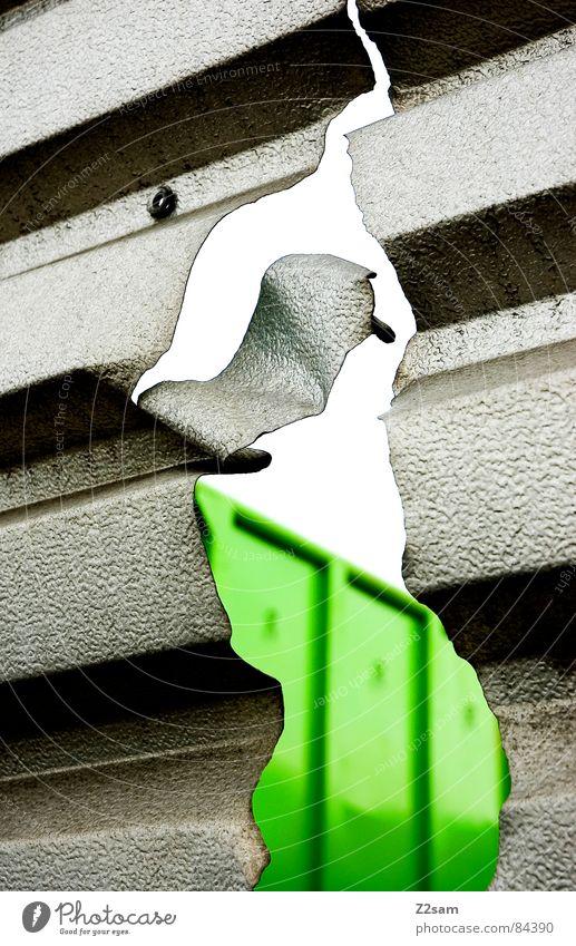 the flame gerissen kaputt Blech Wellblech rau grün Einblick Unschärfe Schraube Verlauf graphisch abstrakt Blick Industrie durch Flamme Strukturen & Formen Riss