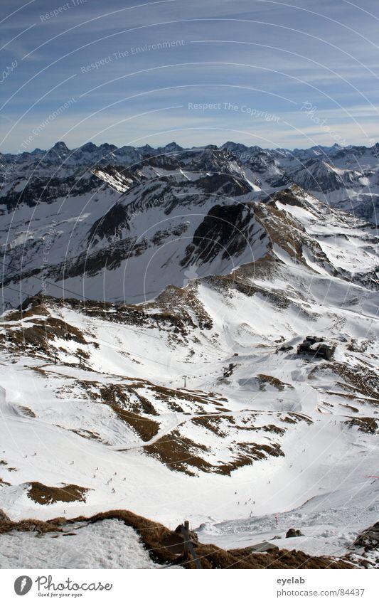Alpenpanorama Himmel Ferien & Urlaub & Reisen ruhig Ferne Erholung Schnee Berge u. Gebirge Freiheit Wetter Felsen Freizeit & Hobby groß Aussicht Gipfel Restaurant Sonnenbad