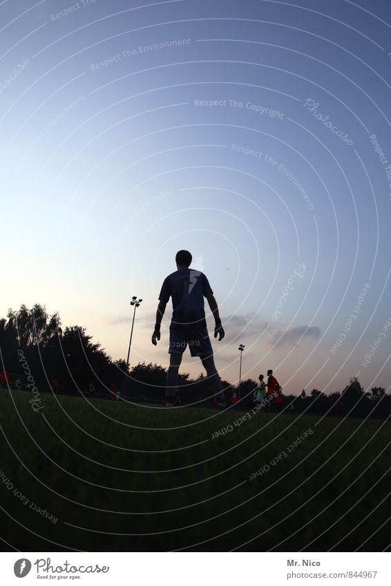 schlussmann Himmel Freude Wiese Gras Sport Spielen Menschengruppe Freizeit & Hobby maskulin Erfolg Fitness Körperhaltung Sport-Training Erwartung Sportler