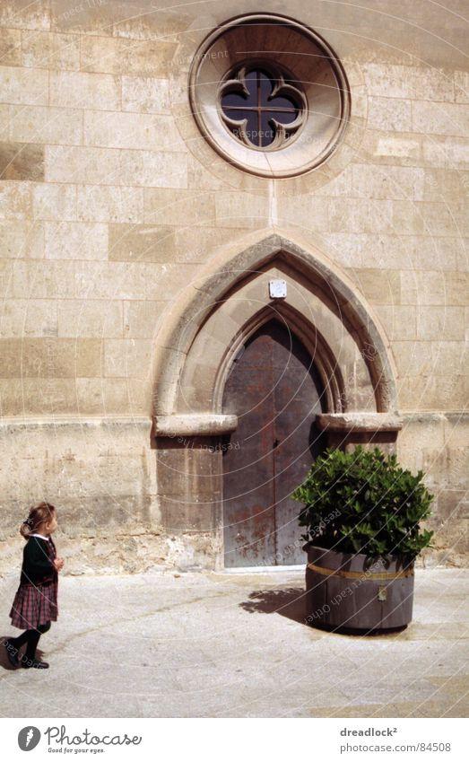 childhood Kind retro Spanien Europa mediterran Mallorca Ferien & Urlaub & Reisen Sträucher Tür Tor Außenaufnahme Kleinkind Portal Durchgang Stauden
