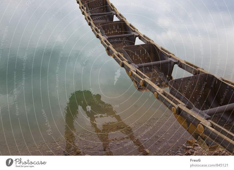 Am Baggersee Himmel Wasser Wolken Stein See Metall Kraft hängen Schaufel
