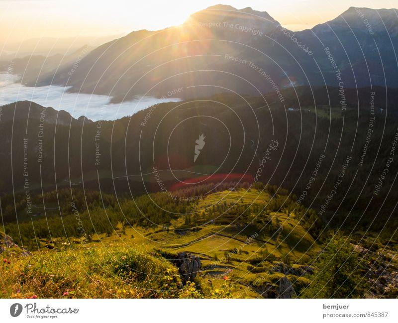 Sunrise, sunrise Himmel Natur schön Sommer Sonne Landschaft Wolken Berge u. Gebirge Wiese Wege & Pfade Nebel authentisch Aussicht Schönes Wetter Gipfel Neugier