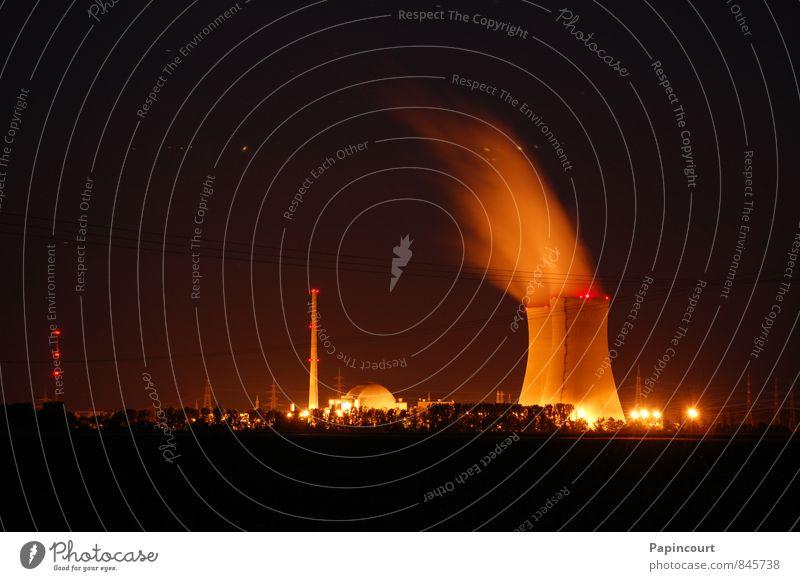 Kernkraftwerk bei Nacht Energiewirtschaft Deutschland Elektrizität Industrie Industrieanlage Stromkraftwerke
