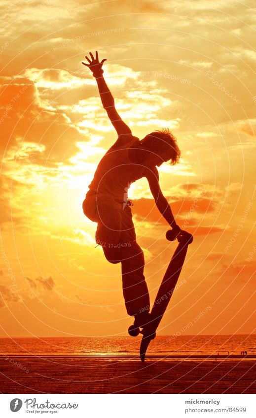 longboard in the sun gelb Meer Artist Frankreich Sonnenaufgang Sonnenuntergang Abend Morgen Badestelle Freizeit & Hobby Skateboard Skateboarding orange Freiheit