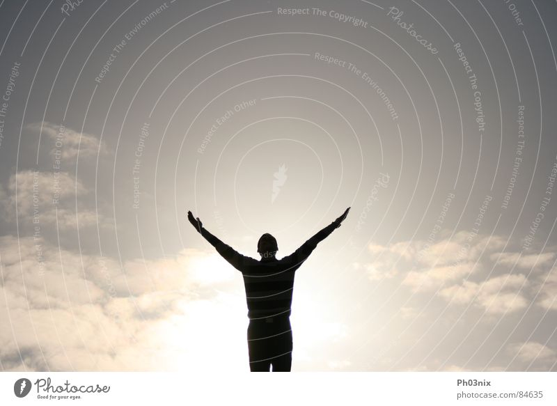die Erleuchtung Erkenntnis Götter himmlisch Hand ausgestreckt Freude Himmel Sonne Gott Arme