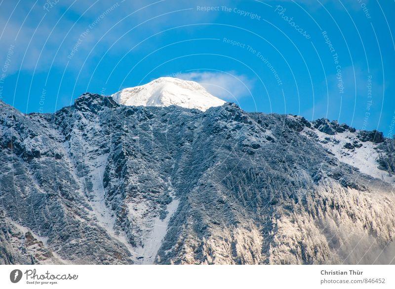 Blick auf den Dachstein Natur Ferien & Urlaub & Reisen blau weiß Sonne Wolken schwarz Winter Umwelt Berge u. Gebirge Leben Schnee Felsen Zufriedenheit Tourismus