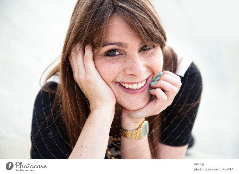 cheese Mensch Jugendliche schön Junge Frau 18-30 Jahre Gesicht Erwachsene feminin Glück lachen Zufriedenheit Fröhlichkeit brünett langhaarig