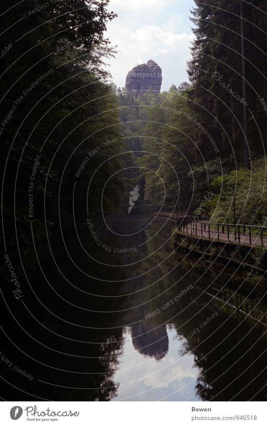 Weg des Spiegels Umwelt Natur Landschaft Pflanze Urelemente Wasser Himmel Wolken Sonne Baum Wald Felsen Flussufer Wege & Pfade ruhig mystisch erholsam