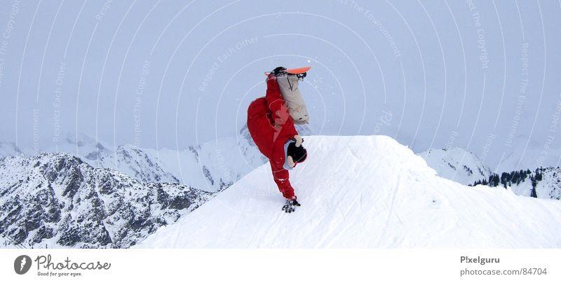 Freak Snowboarder Wintersport schlechtes Wetter Sport Spielen snow Schnee Berge u. Gebirge mountain