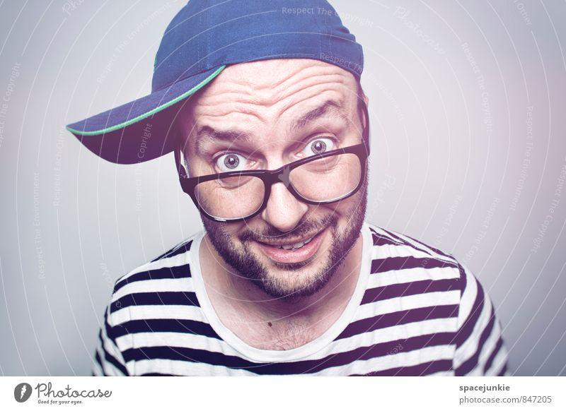 Alter! Mensch Mann blau rot Erwachsene lustig Stil maskulin Lifestyle verrückt beobachten Brille Coolness Schulgebäude T-Shirt Bildung