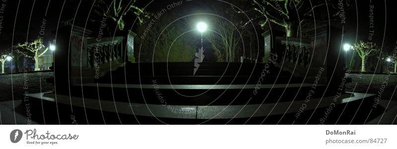 Der Kai Baum Stadt schwarz Einsamkeit dunkel Stein Traurigkeit Beleuchtung groß Perspektive Europa Treppe Laterne Verkehrswege Anlegestelle