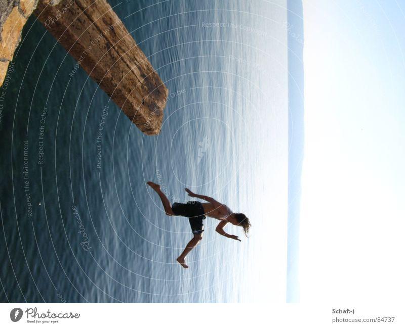 Sprung Wasser Meer Freude springen Freiheit Freizeit & Hobby Vertrauen Schwimmen & Baden Mut Sprungbrett Kroatien loslassen