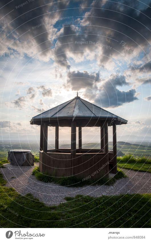 Pavillon Ausflug wandern Natur Landschaft Urelemente Himmel Wolken Horizont Sonnenaufgang Sonnenuntergang Sommer Herbst Schönes Wetter Gras Hügel Rastplatz