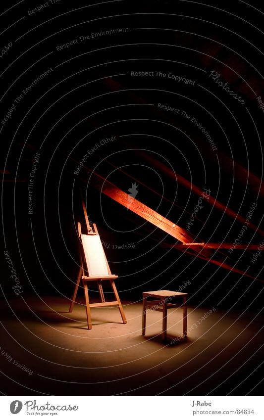 Das letzte Bild V2 Einsamkeit dunkel Arbeit & Erwerbstätigkeit Tod Kunst Trauer Elektrizität Bodenbelag Kultur streichen Handwerk Stress Verzweiflung verloren Künstler Dachboden