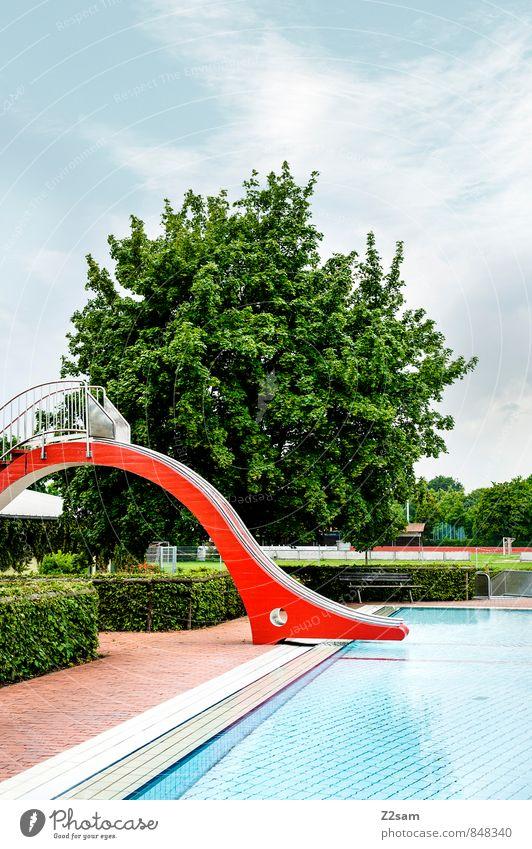 Rutschpartie gefällig? Himmel Ferien & Urlaub & Reisen blau grün Wasser Sommer Sonne Baum Erholung Landschaft Strand kalt natürlich Schwimmen & Baden modern